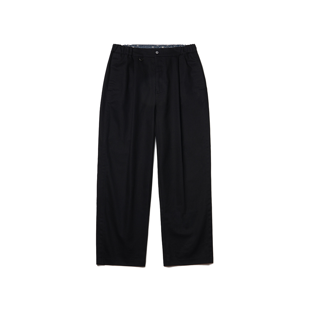 Pleated Ankle Chino Pants Black