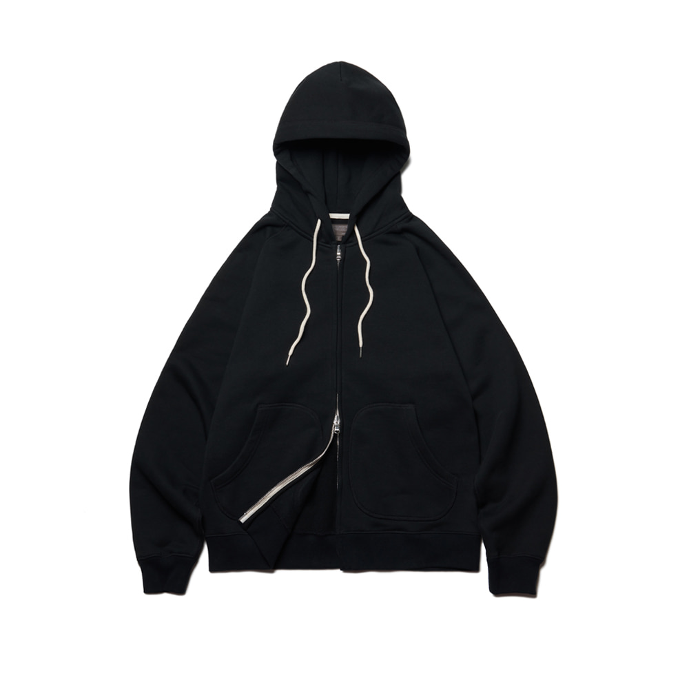 Heavy Raising Zip-Up Hoodie Black