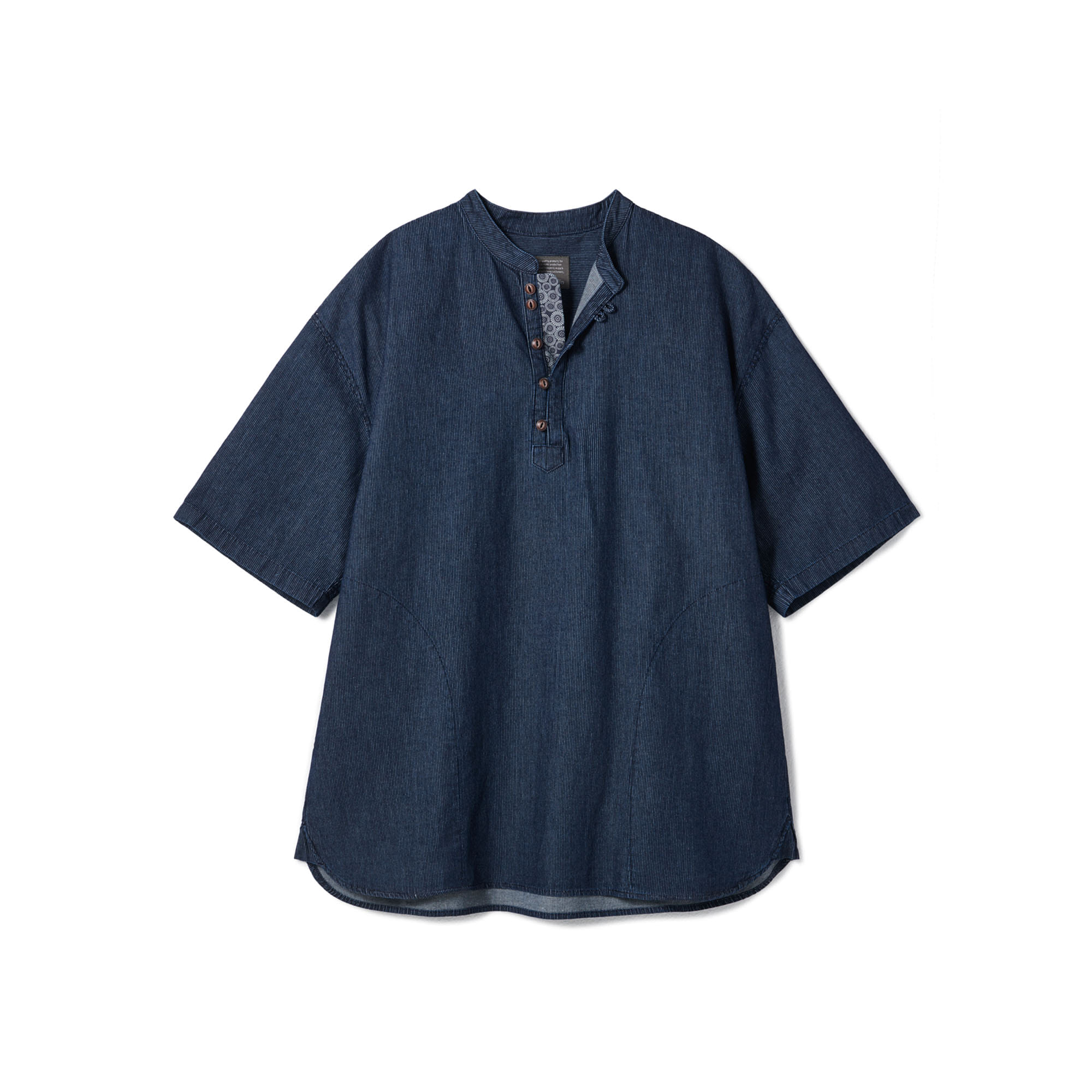 [Restock] Loop Button Washed Half Shirts Deep Blue