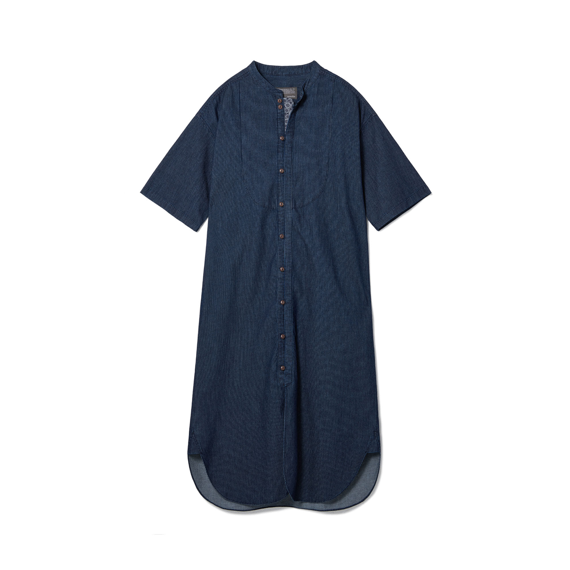Loop Button Washed One-Piece Deep Blue