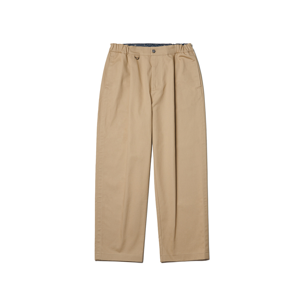 Pleated Ankle Chino Pants Beige