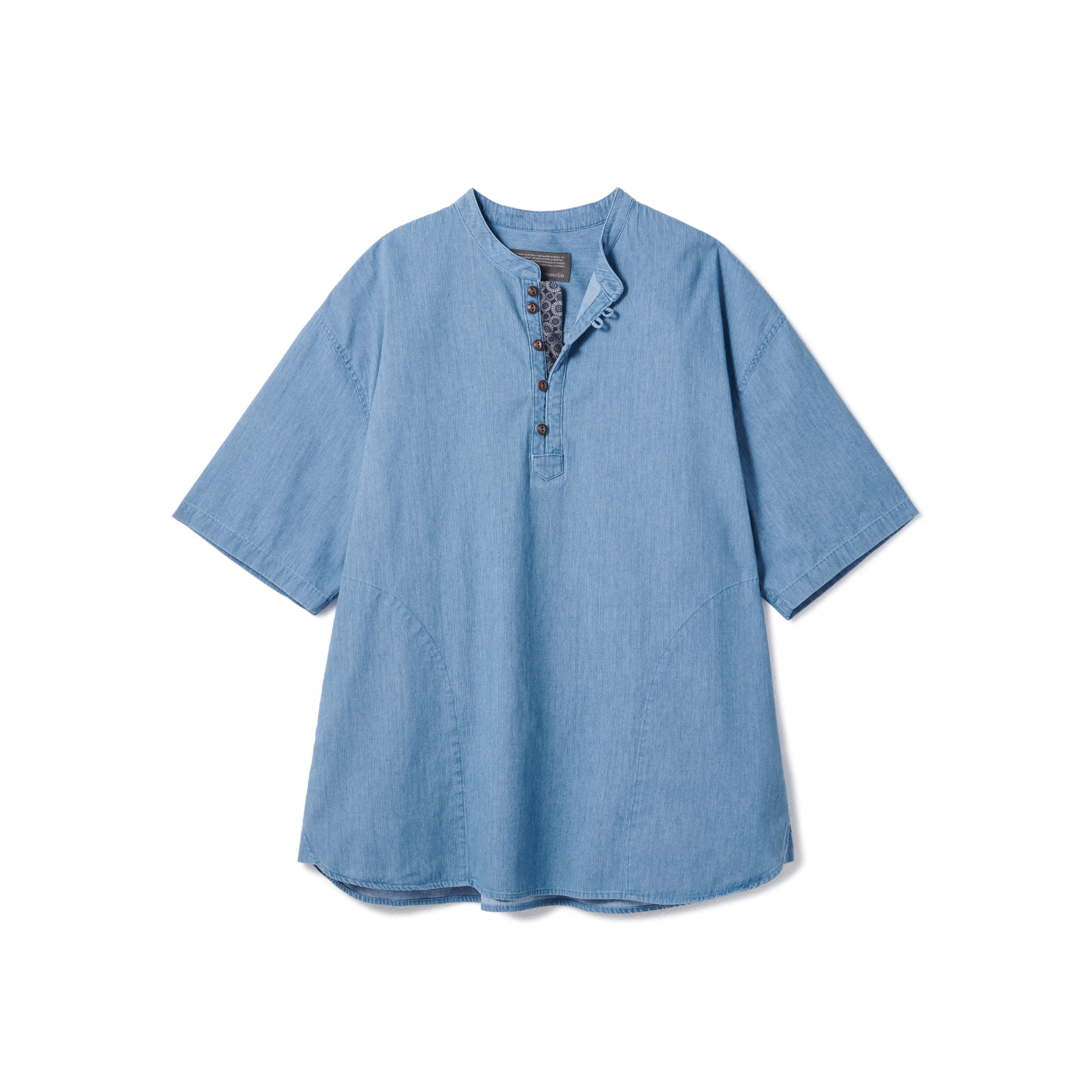 [Restock] Loop Button Washed Half Shirts Light Blue