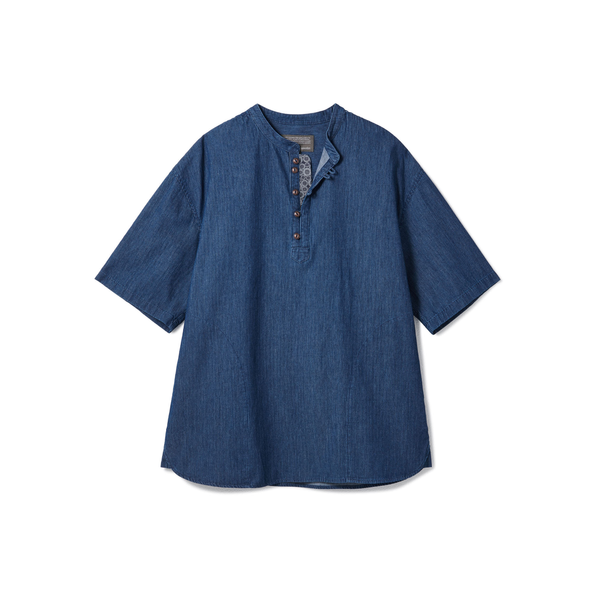 [Restock] Loop Button Washed Half Shirts Middle Blue