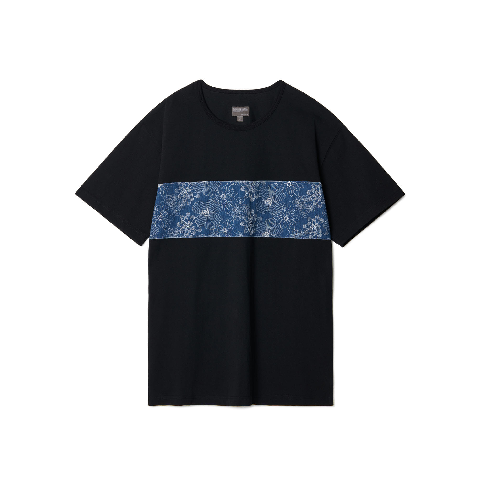 Flower Embroidery Block T-shirts Black