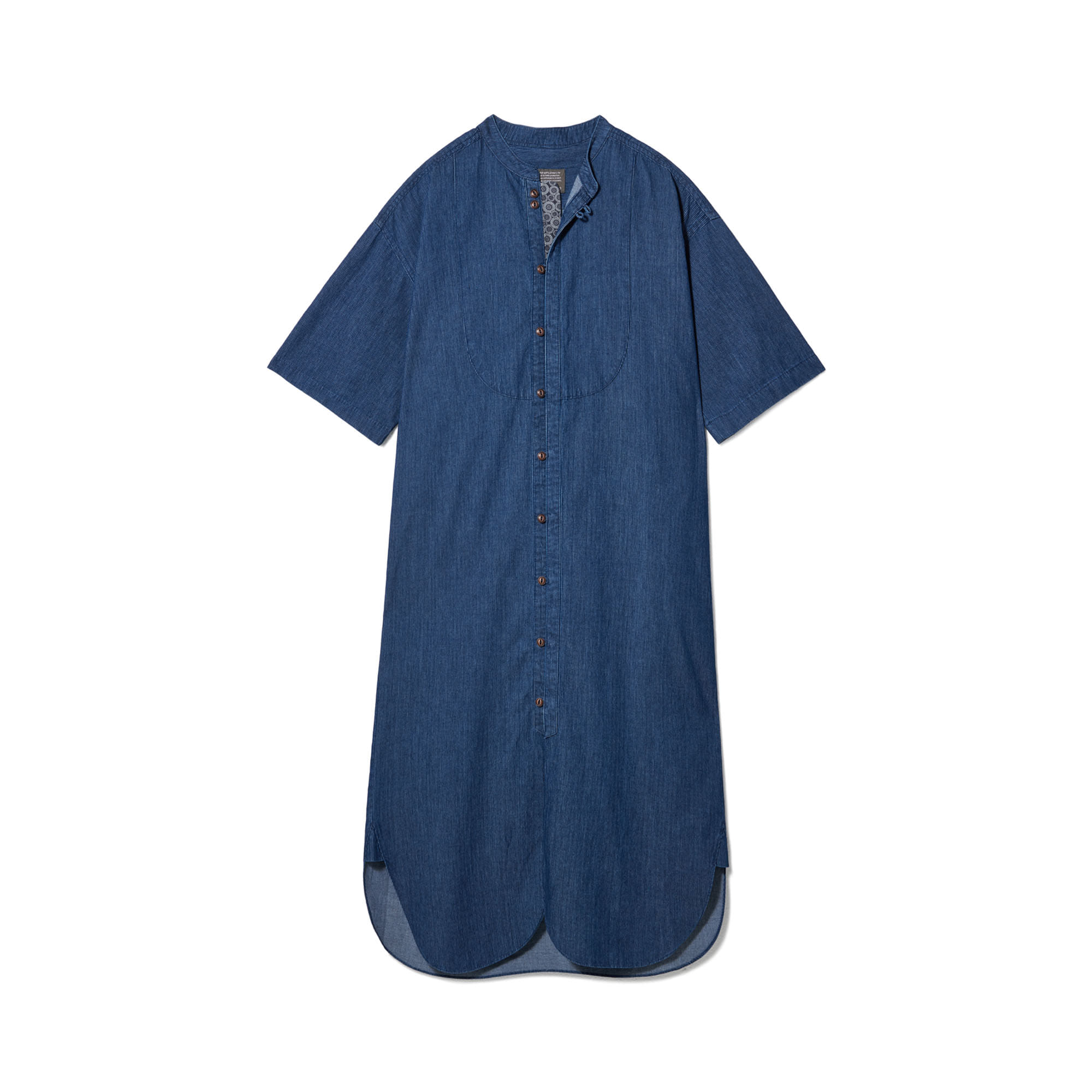 Loop Button Washed One-Piece Middle Blue